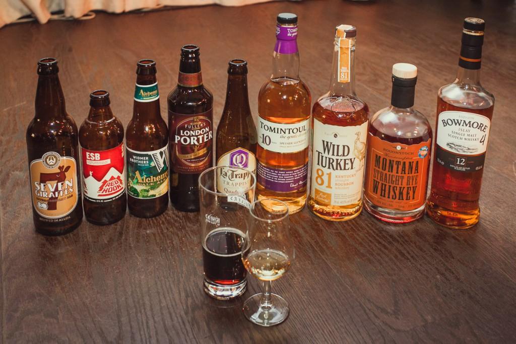Линейка виски и пива для дегустации